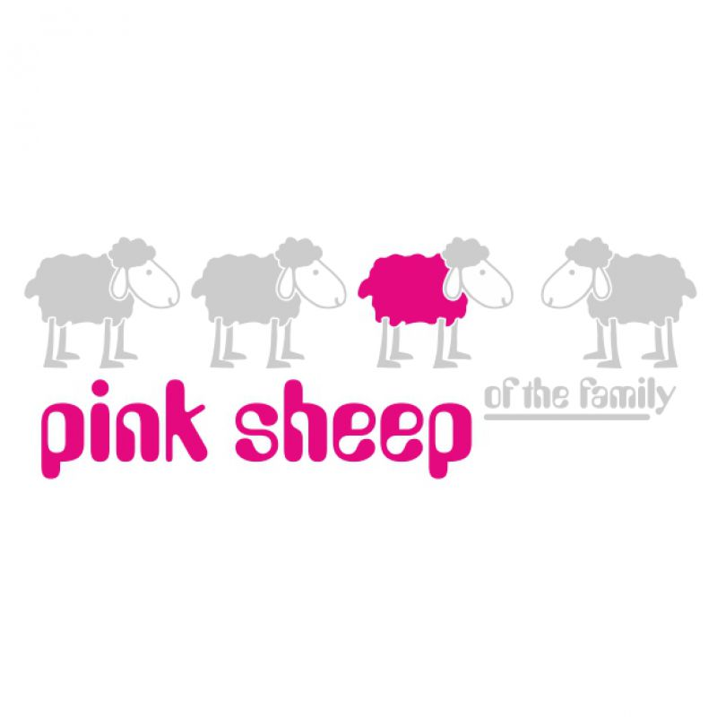 Aufkleber Pink Sheep Family silber