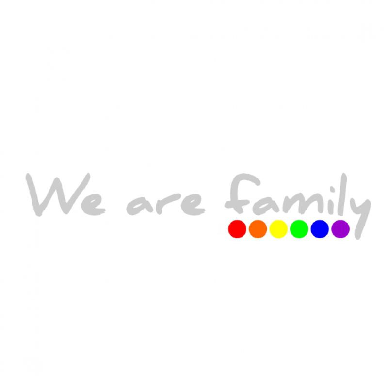 Aufkleber we are family - silber