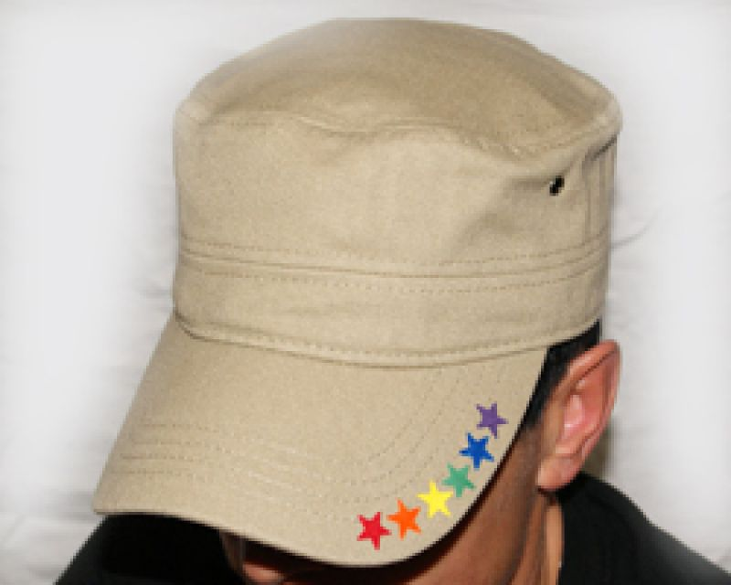 Sterne rechts beige Military-Cap