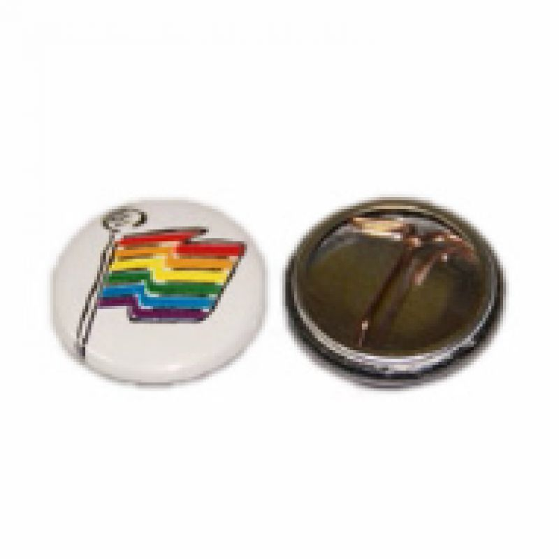 Regenbogen Button Fahne