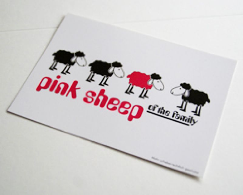 Postkarte Pink Sheep